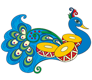 Indian rangoli with peacock clipart