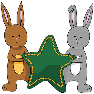 Two Bunnies with a Star clipart