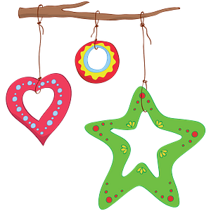 Christmas Ornaments on a Branch clipart
