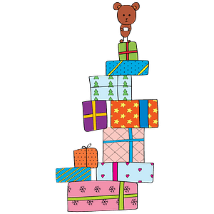 Christmas Presents and Teddy Bear clipart