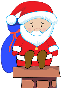 Santa Claus on a chimney clipart