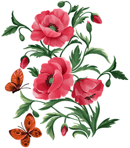 Red poppies and butterflies clipart