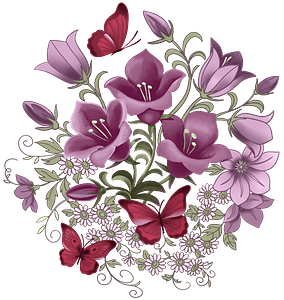 Bellflowers and butterflies clipart