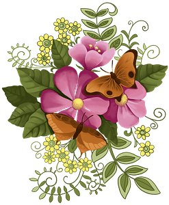 Flowers and butterflies clipart