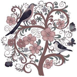 Birds on a flowering tree clipart