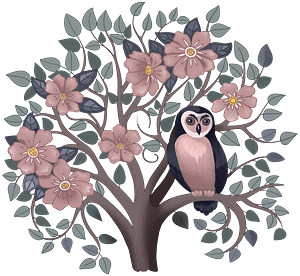 Owl on a flowering tree clipart