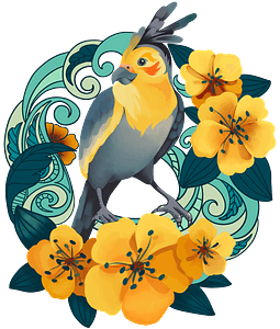 Parrot in flowers clipart