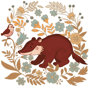 Badger in the forest clipart