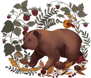 Bear in the forest clipart