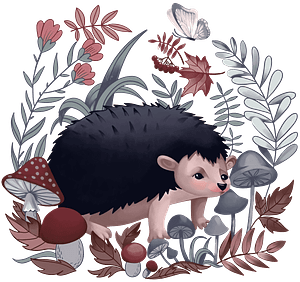 Hedgehog in the forest clipart