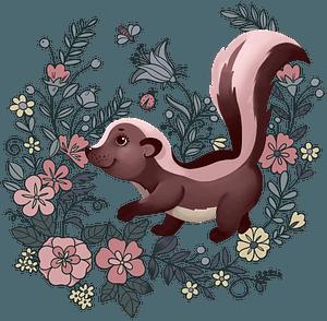 Skunk in flowers clipart