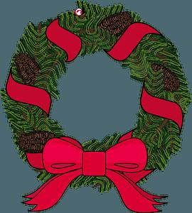 Christmas pine wreath clipart