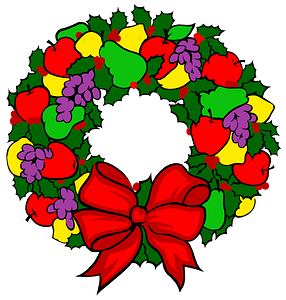 Christmas wreath with fruits clipart