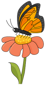 Butterfly on a flower clipart