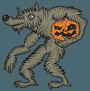 Werewolf with pumpkin clipart