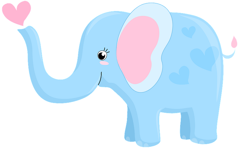 Elephant blowing hearts clipart