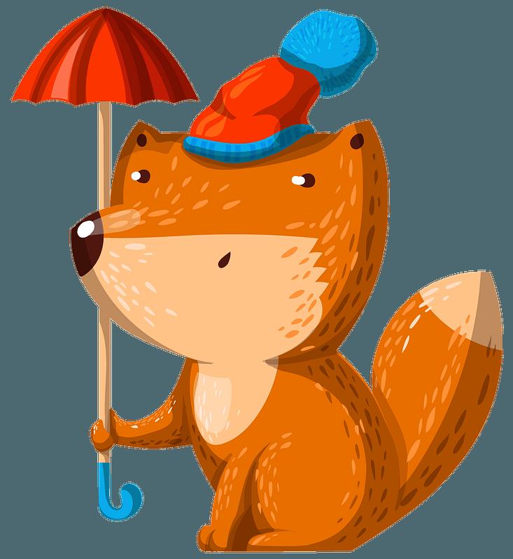 Fox with umbrella clipart