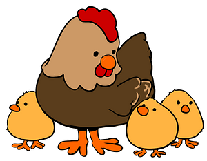 Cartoon Hen and Chicks clipart