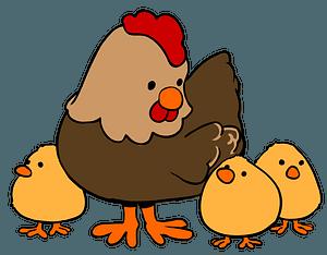 Cartoon Hen and Chicks clipart