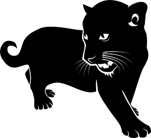 Black wild cat clipart