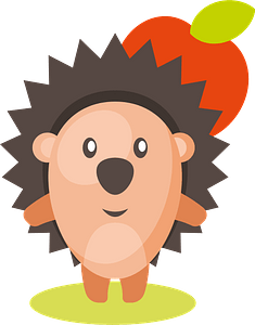 Cute hedgehog with apple clipart