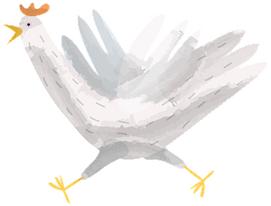 Running hen clipart