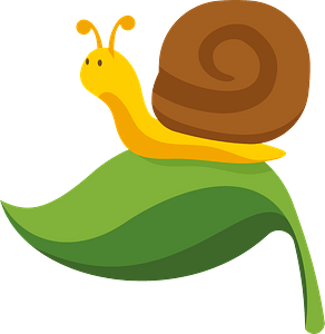 Snail on the leaf clipart