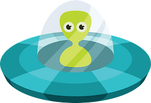 Alien in a flying saucer clipart