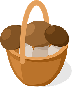 Basket of mushrooms clipart