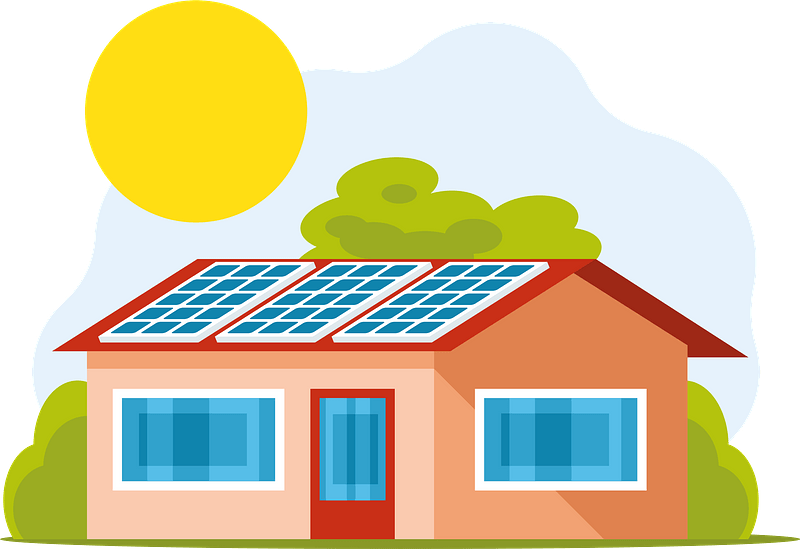Solar panels on roof clipart
