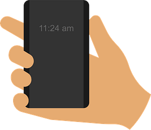 Smartphone in hand clipart