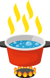 Boiling water pan clipart