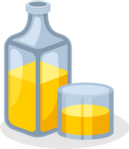 Bottle and glass clipart