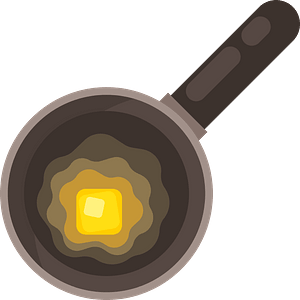 Butter in a pan clipart