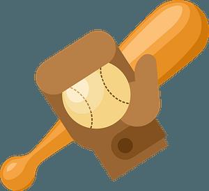 Baseball bat and glove clipart