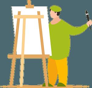 Artist paints picture clipart