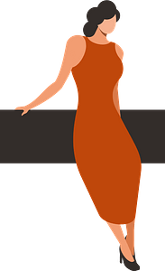Lady in red dress clipart