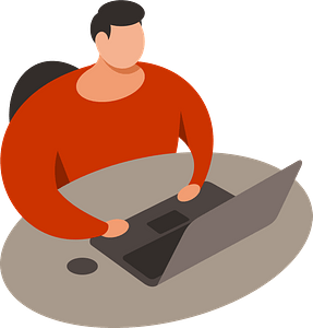 Man with laptop clipart