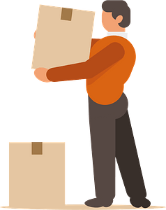 Man moving boxes clipart