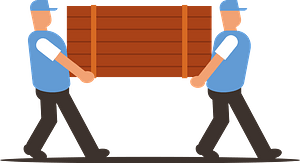 Movers carry box clipart