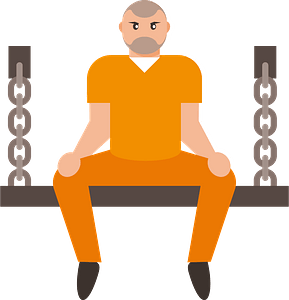 Prisoner in cell clipart