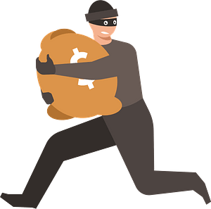 Thief on the run clipart