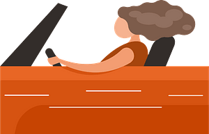 Woman driving car clipart