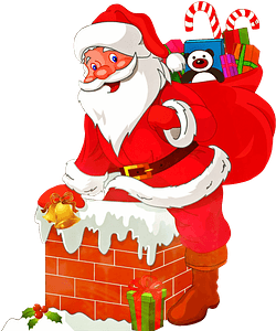 Santa Claus with presents clipart
