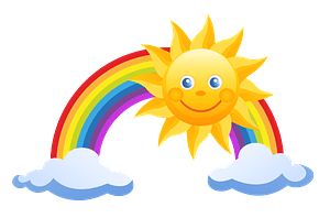 Sun and rainbow clipart