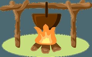Bonfire camping clipart