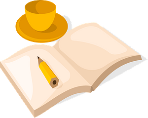 Book and cup of coffee clipart