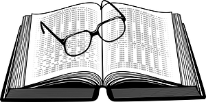 Book and glasses clipart