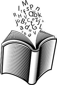 Book and letters clipart