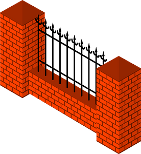 Brick fence section clipart